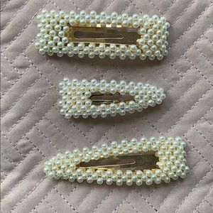 Faux Pearl Hair Clips - Pack of 3